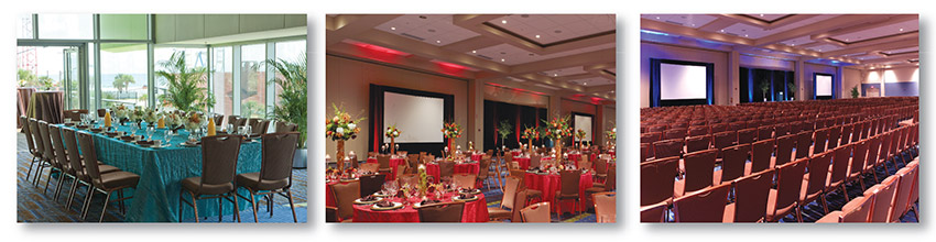 banquet tables with colorful table cloths, plates, glasses, and decorations